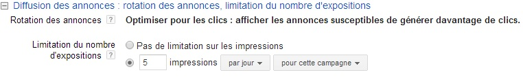 limiter les impression de remarketing